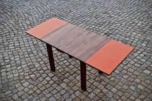 Aussziehtisch Massivholz Linoleum Esstisch ausgezogen Massivholz Möbel Tischlerei Dresden