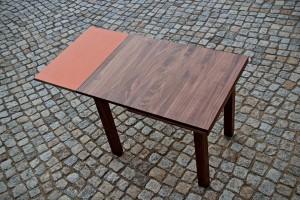 Aussziehtisch Massivholz Linoleum Esstisch verlängert Massivholz Möbel Tischlerei Dresden
