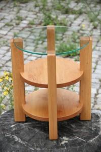Runder Couchtisch mit Glasplatte Beistelltisch rund Massivholz Möbel Tischlerei Dresden Holzmuster Erle