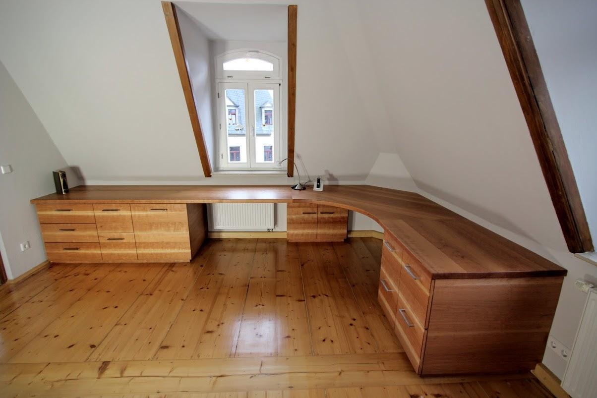 Schreibtischlandschaft aus amerikanischer kirsche for Schreibtisch kirschholz