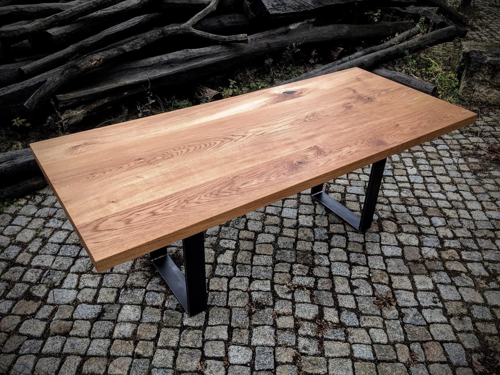 massivholztisch aus 50mm dicker eiche mit tischbeinen aus. Black Bedroom Furniture Sets. Home Design Ideas