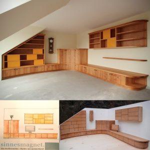Einbaumöbel nach Maß unter Dachschräge aus Holz Erle Massivholz Tischlerei Sinnesmagnet Möbel Dresden Schrankwand