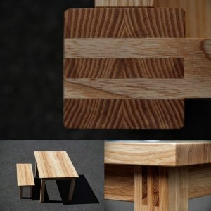 Tisch und Bank aus Esche Gesellenstück Massivholz Möbel Dresden