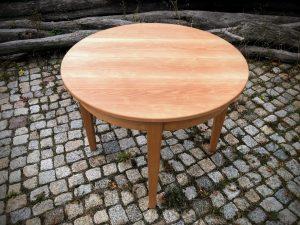 Runder Tisch aus Buche verlängerbar zum Ausziehen oval Massivholz Möbel Dresden