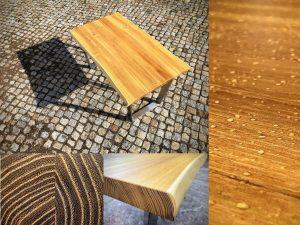 Tisch aus Robinie mit Waldkante Massivholz mit Baumkante Unikat schönes Holzbild