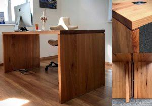 Schreibtisch Möbel Arztpraxis Dresden verdeckter Kabelkanal Schattenfuge